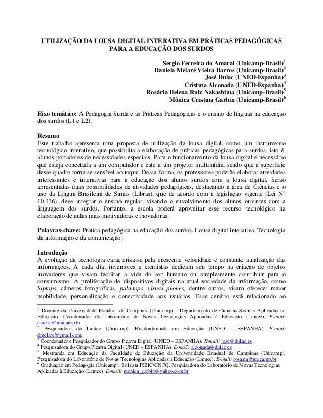 UTILIZAÇÃO DA LOUSA DIGITAL INTERATIVA EM PRÁTICAS PEDAGÓGICAS                     PARA A EDUCAÇÃO DOS SURDOS             ...