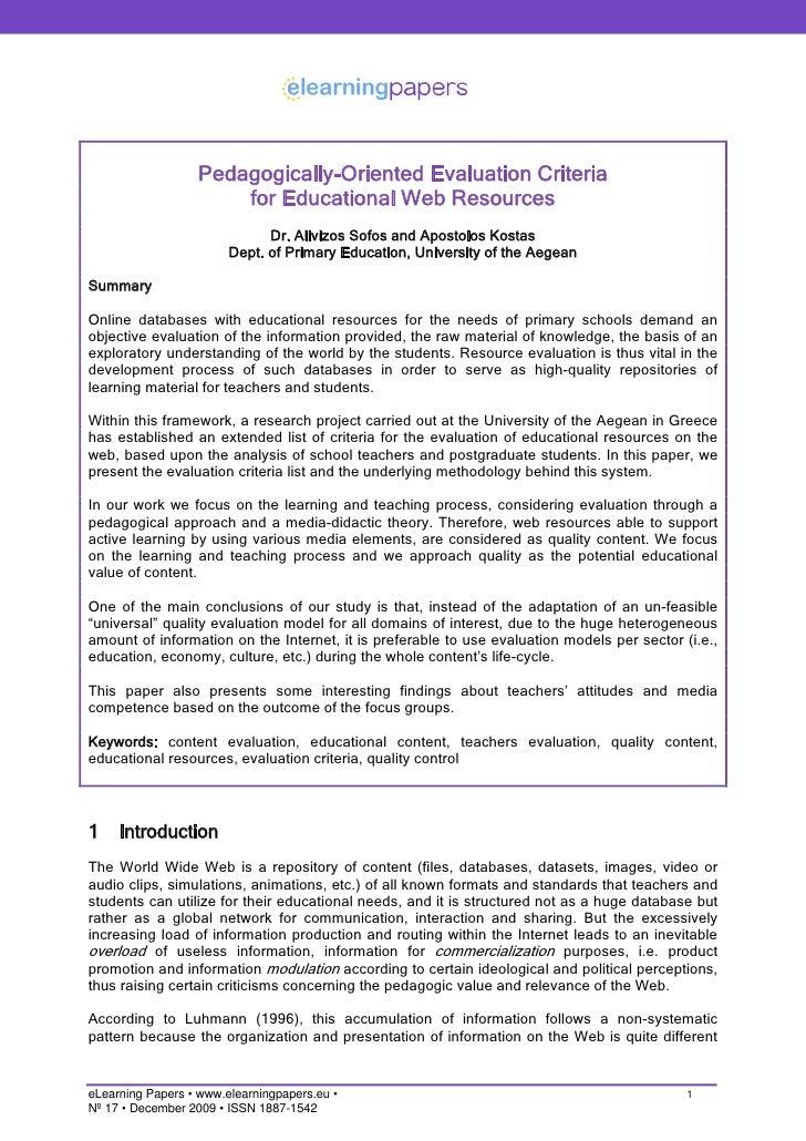 criteria for evaluating an essay