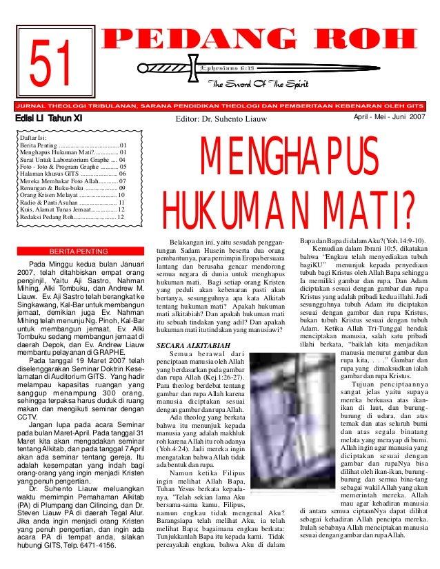 51 April - Mei - Juni 2007  Edisi LI Tahun XI Daftar Isi: Berita Penting ..................................... 01 Menghapu...