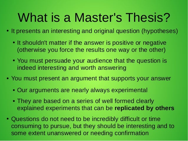 what is a masters thesis