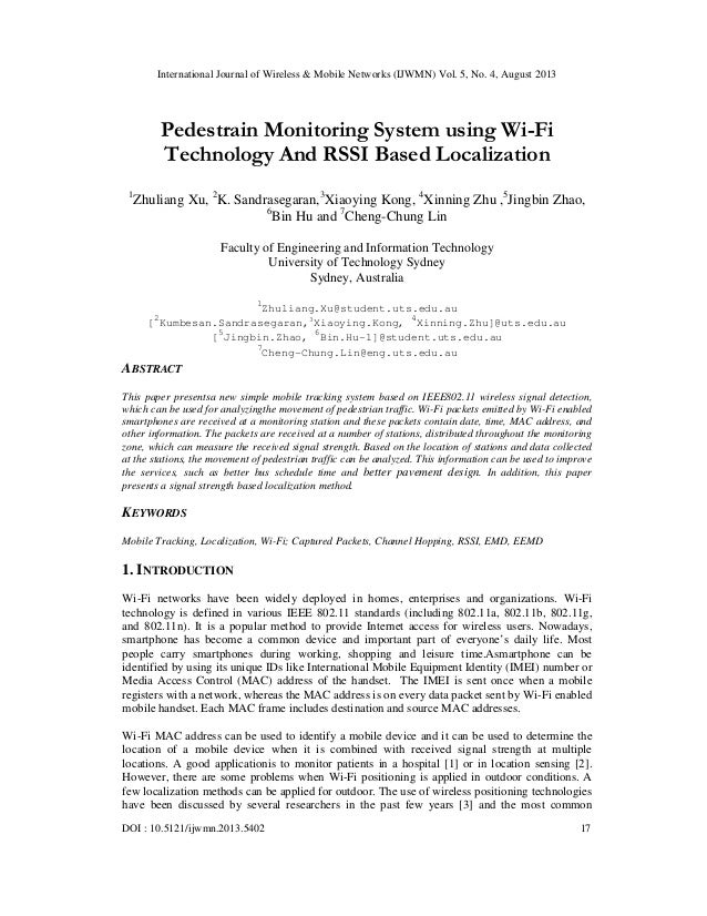 Pedestrain Monitoring System using Wi-Fi Technology And RSSI Based Localization