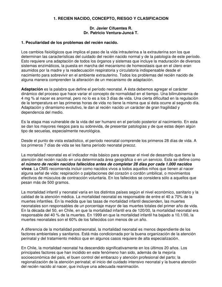 1. RECIEN NACIDO, CONCEPTO, RIESGO Y CLASIFICACION                                        Dr. Javier Cifuentes R.         ...