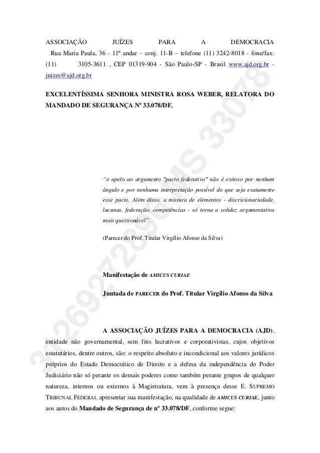 ASSOCIAÇÃO JUÍZES PARA A DEMOCRACIA Rua Maria Paula, 36 - 11º andar – conj. 11-B – telefone (11) 3242-8018 - fone/fax: (11...