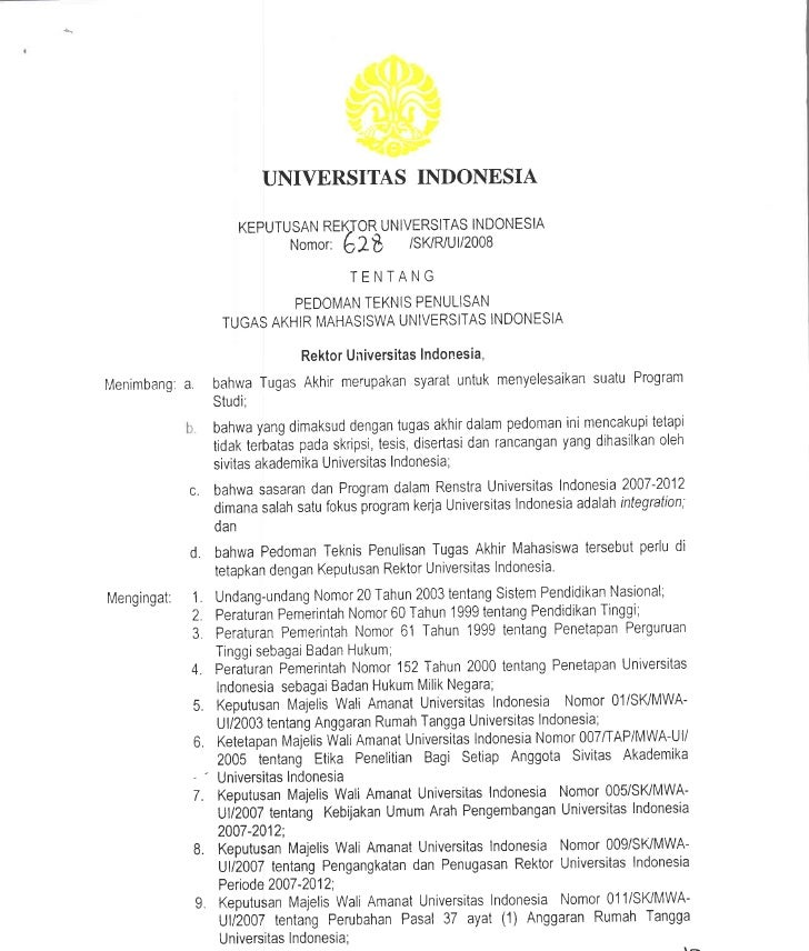 Pedoman Ta Ui  Sk Rektor 2008