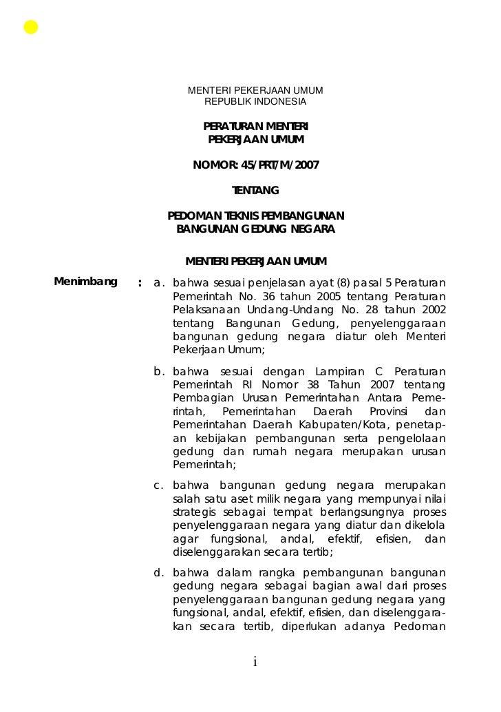 MENTERI PEKERJAAN UMUM REPUBLIK INDONESIA PERATURAN MENTERI ...