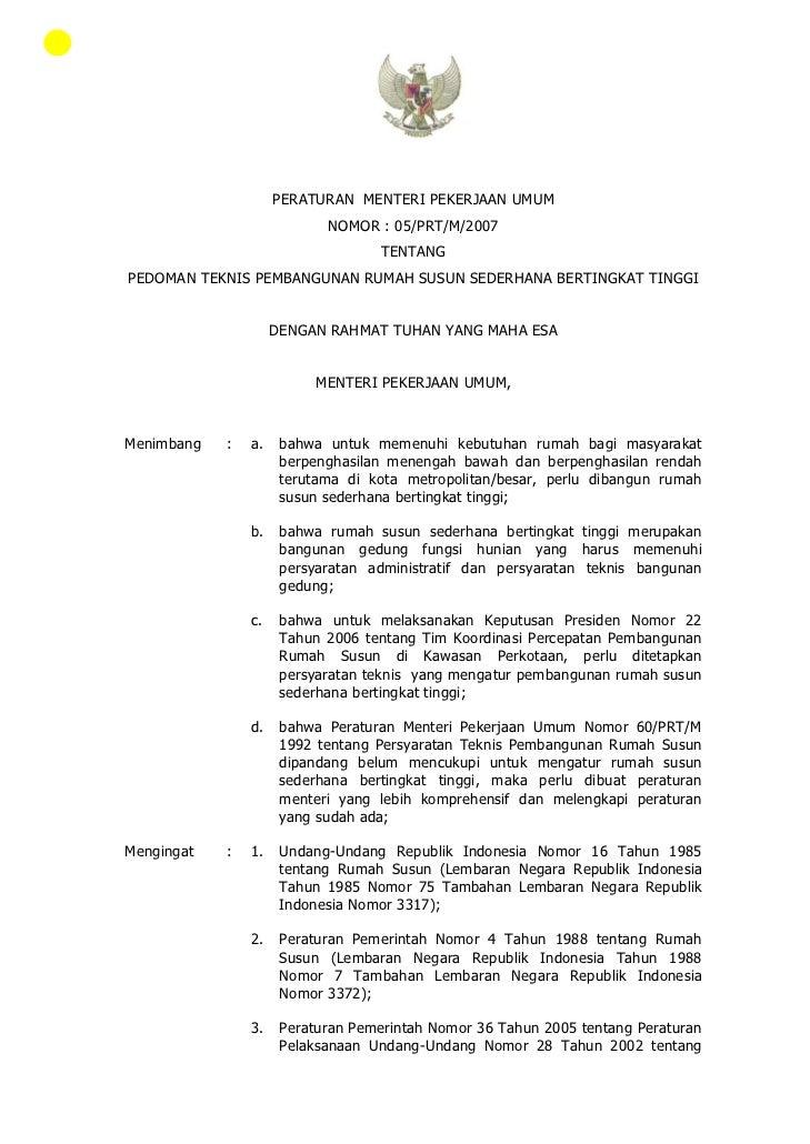 PERATURAN MENTERI PEKERJAAN UMUM                            NOMOR : 05/PRT/M/2007                                   TENTAN...