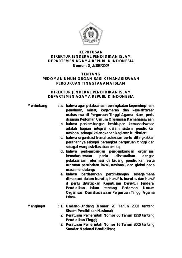 KEPUTUSAN             DIREKTUR JENDERAL PENDIDIKAN ISLAM            DEPARTEMEN AGAMA REPUBLIK INDONESIA                   ...