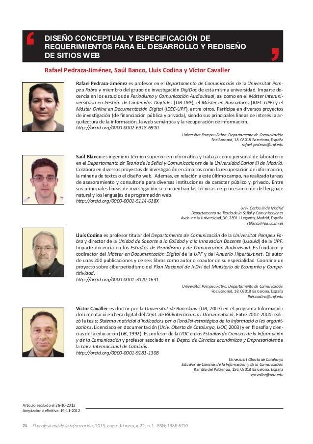 Diseño conceptual y especificación de            requerimientos para el desarrollo y rediseño            de sitios web    ...