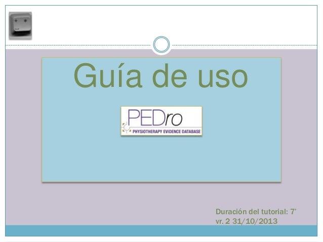 PEDro:  guía de uso vr2