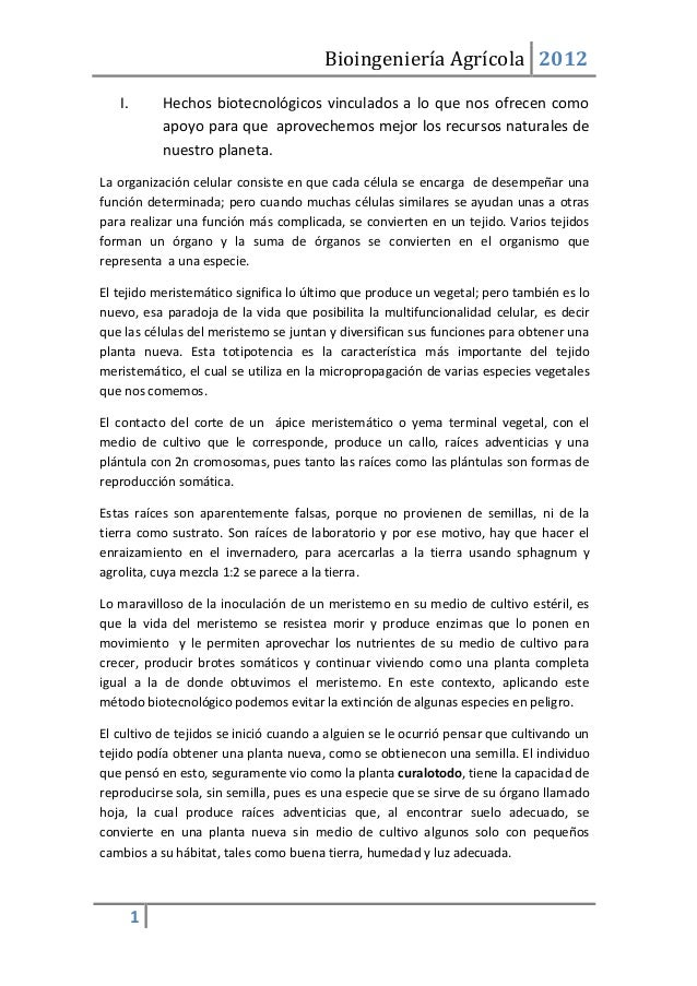 Bioingeniería Agrícola 2012   I.       Hechos biotecnológicos vinculados a lo que nos ofrecen como            apoyo para q...