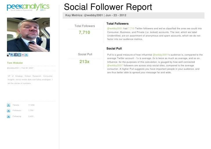 Social Follower Report                                                      Key Metrics: @webby2001   Jun - 23 - 2012     ...
