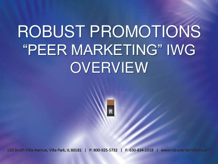 Robust Promotions introduces Peer Marketing