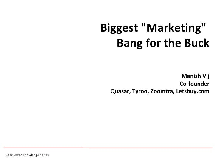 "Biggest ""Marketing""  Bang for the Buck Manish Vij Co-founder Quasar, Tyroo, Zoomtra, Letsbuy.com"