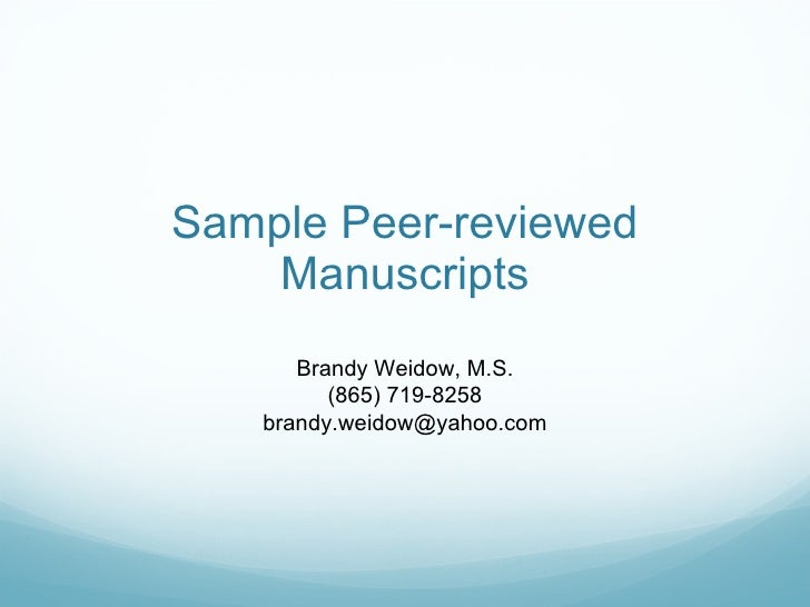 Sample peer-reviewed journal articles