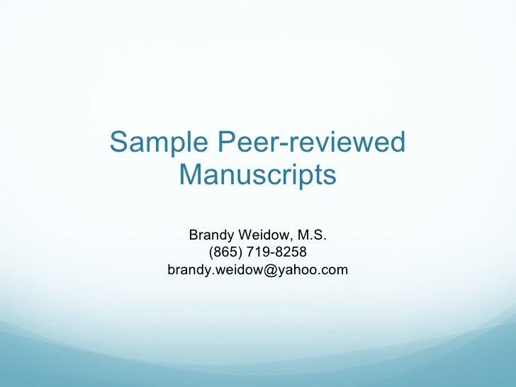 Sample peer-reviewed journal articles