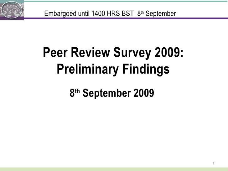 Sense About Science: Peer Review Survey