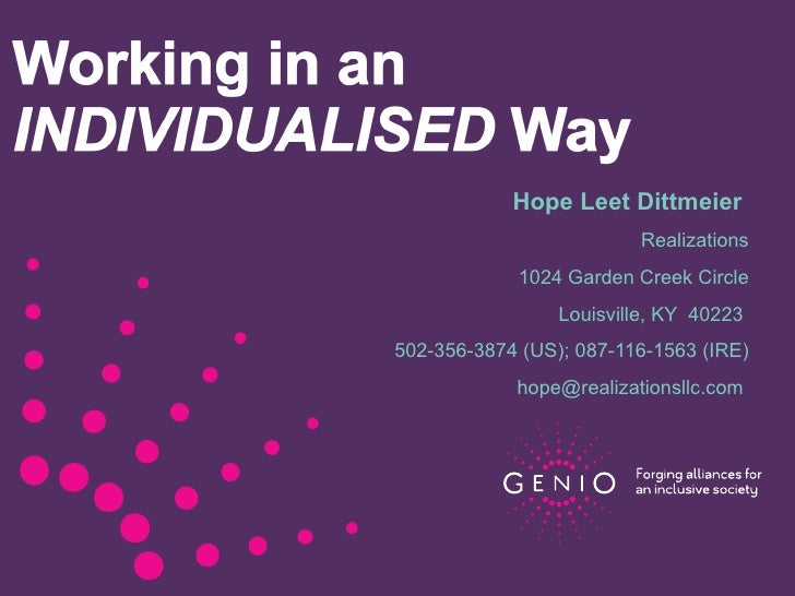 Individualized Support for Peer Support Workers April 24, 2012
