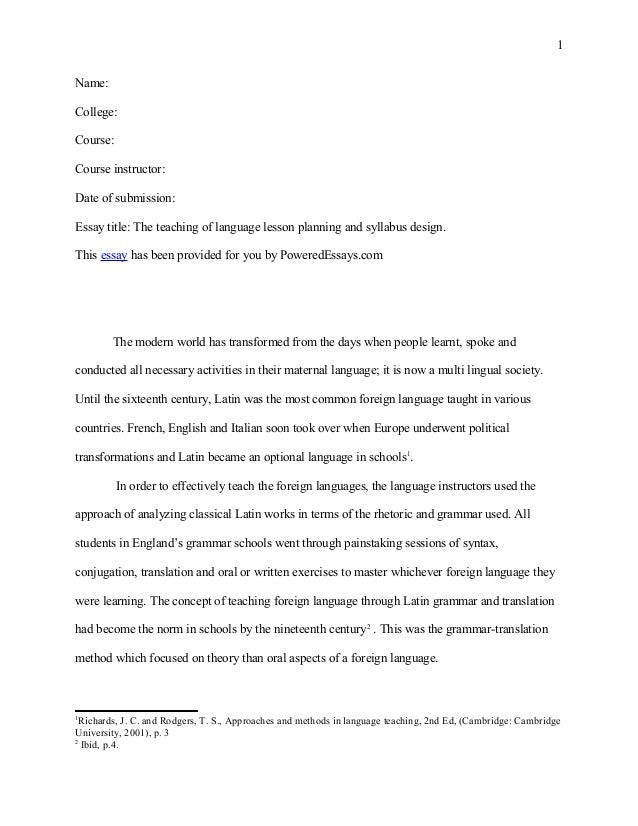 Pe essay the_teaching_of_language_lesson_planning_and_syllabus_design