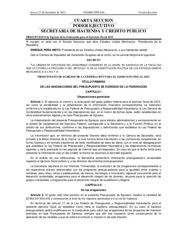 Jueves 27 de diciembre de 2012                DIARIO OFICIAL                                 (Cuarta Sección)             ...