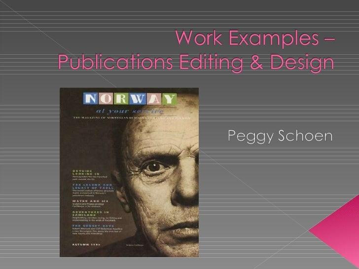 Peg Schoen Work Examples X