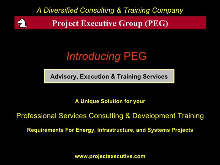 Introducing   PEG   A Diversified Consulting & Training Company Advisory, Execution & Training Services Project Executive ...