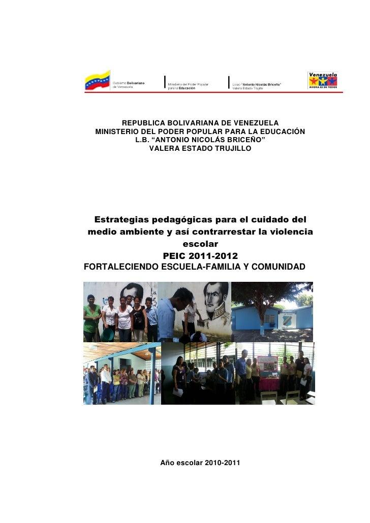 """REPUBLICA BOLIVARIANA DE VENEZUELA  MINISTERIO DEL PODER POPULAR PARA LA EDUCACIÓN           L.B. """"ANTONIO NICOLÁS BRICEÑO..."""