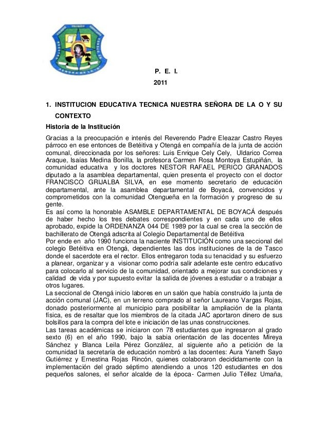 P. E. I.                                      20111. INSTITUCION EDUCATIVA TECNICA NUESTRA SEÑORA DE LA O Y SU   CONTEXTOH...