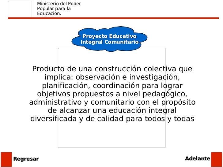 Ministerio del Poder Popular para la Educación. Proyecto Educativo Integral Comunitario Producto de una construcción colec...