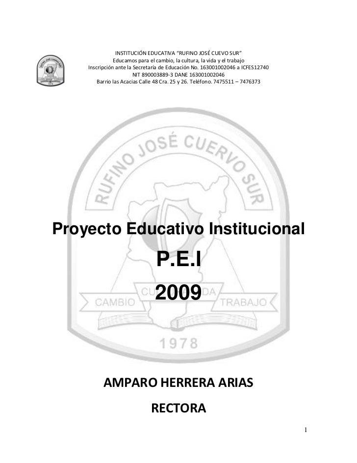"""INSTITUCIÓN EDUCATIVA """"RUFINO JOSÉ CUEVO SUR""""               Educamos para el cambio, la cultura, la vida y el trabajo    I..."""