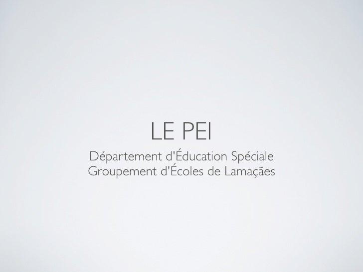 LE PEI Département d'Éducation Spéciale Groupement d'Écoles de Lamaçães