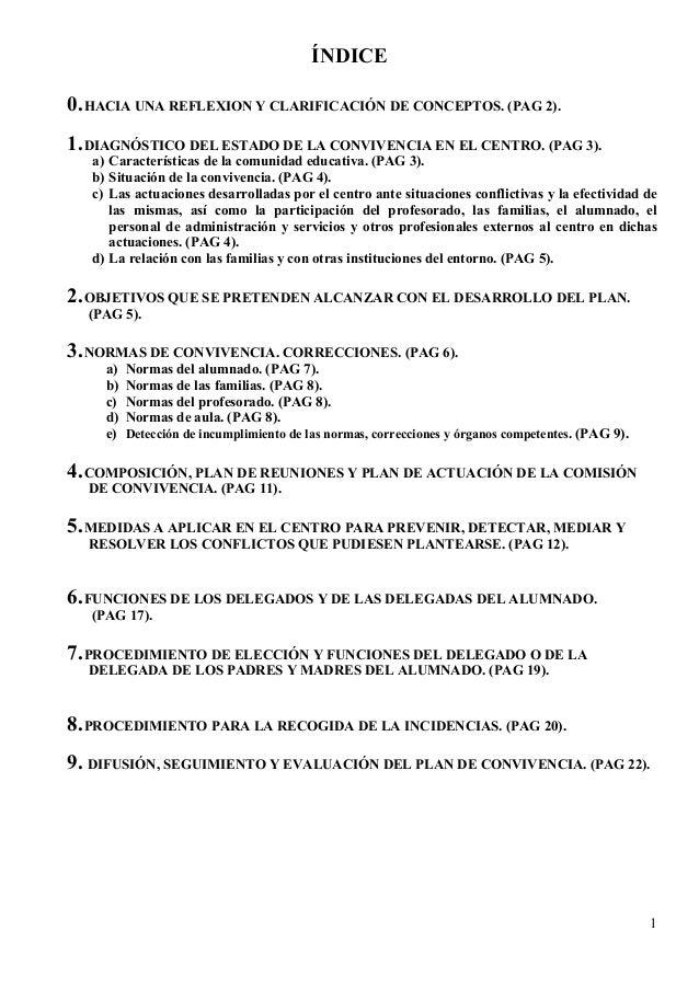 1 ÍNDICE 0.HACIA UNA REFLEXION Y CLARIFICACIÓN DE CONCEPTOS. (PAG 2). 1.DIAGNÓSTICO DEL ESTADO DE LA CONVIVENCIA EN EL CEN...