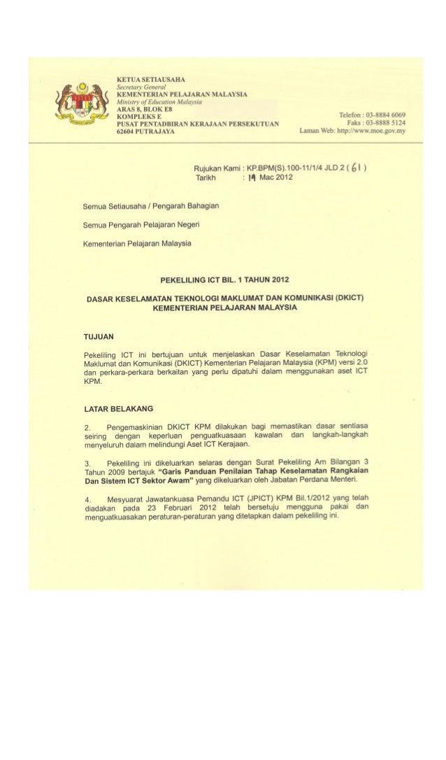 DASAR KESELAMATAN ICT KPM DASAR KESELAMATAN ICT KEMENTERIAN PELAJARAN MALAYSIA VERSI 2.0 MAC 2012