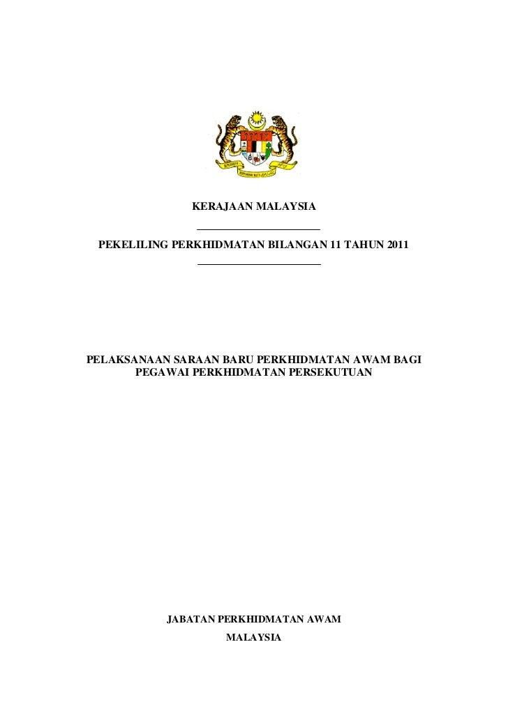 KERAJAAN MALAYSIA PEKELILING PERKHIDMATAN BILANGAN 11 TAHUN 2011PELAKSANAAN SARAAN BARU PERKHIDMATAN AWAM BAGI       PEGAW...