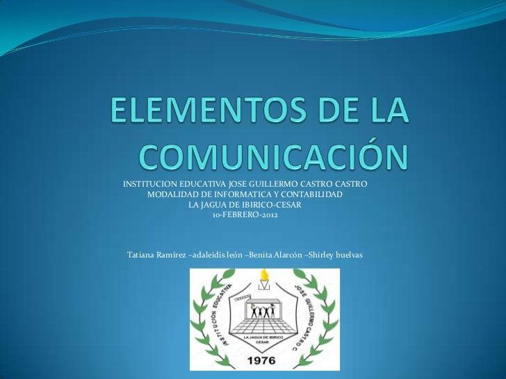 INSTITUCION EDUCATIVA JOSE GUILLERMO CASTRO CASTRO      MODALIDAD DE INFORMATICA Y CONTABILIDAD              LA JAGUA DE I...