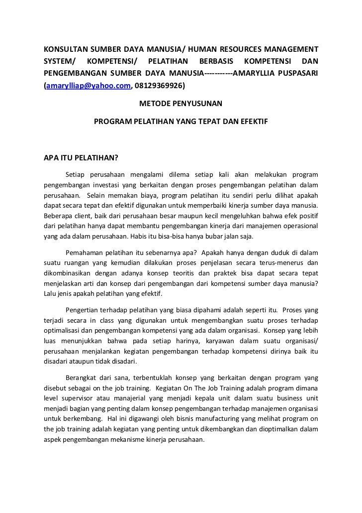 KONSULTAN SUMBER DAYA MANUSIA/ HUMAN RESOURCES MANAGEMENTSYSTEM/ KOMPETENSI/ PELATIHAN BERBASIS KOMPETENSI DANPENGEMBANGAN...