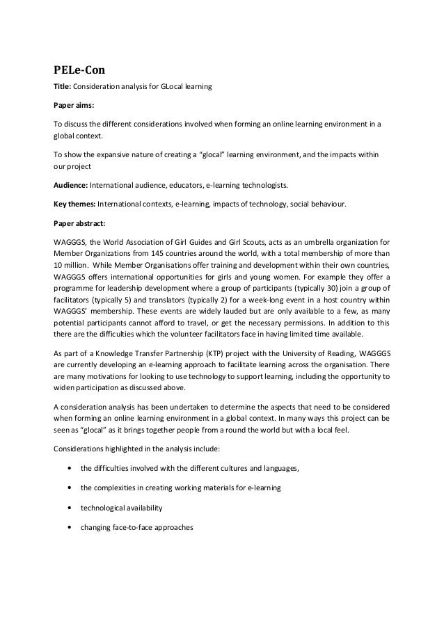 PELe-ConTitle: Consideration analysis for GLocal learningPaper aims:To discuss the different considerations involved when ...