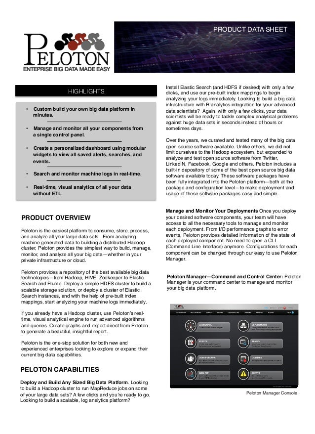 PRODUCT DATA SHEET!    ENTEPRISE BIG DATA MADE EASY                                                                Install...
