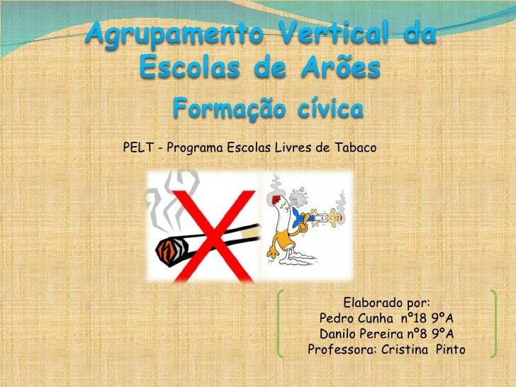 PELT - Programa Escolas Livres de Tabaco Elaborado por: Pedro Cunha  nº18 9ºA Danilo Pereira nº8 9ºA Professora: Cristina ...