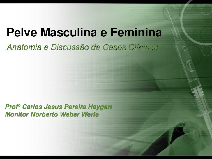 Pelve Masculina e FemininaAnatomia e Discussão de Casos ClínicosProfº Carlos Jesus Pereira HaygertMonitor Norberto Weber W...