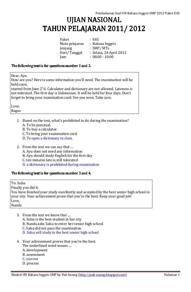 Latihan Soal Dan Pembahasan Kunci Jawaban Ujian Nasional