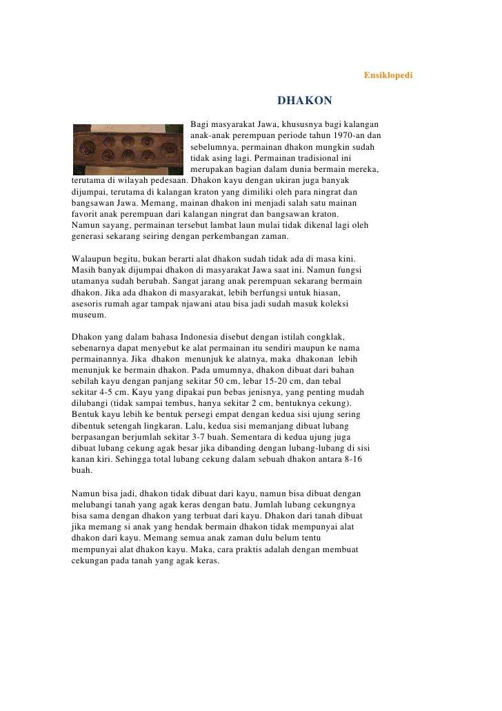 Ensiklopedi                                                   DHAKON                              Bagi masyarakat Jawa, kh...