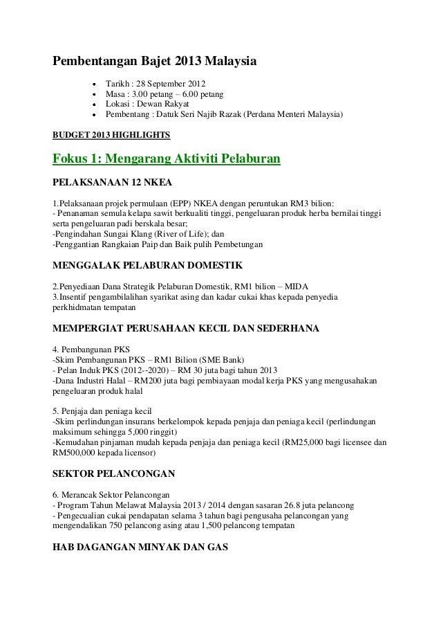 Pembentangan bajet 2013 malaysia