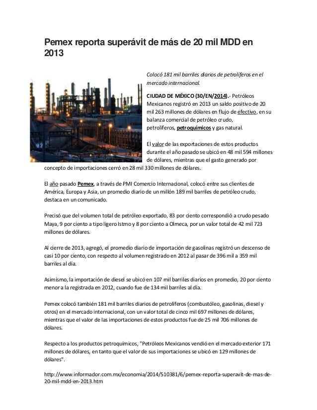 """Estadísticas sobre el petróleo. Fuente """"El Informador"""""""