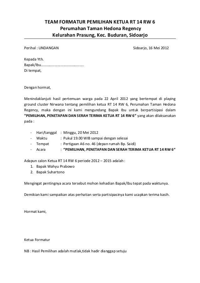 Contoh Surat Pengunduran Diri Ketua Rt - Downlllll