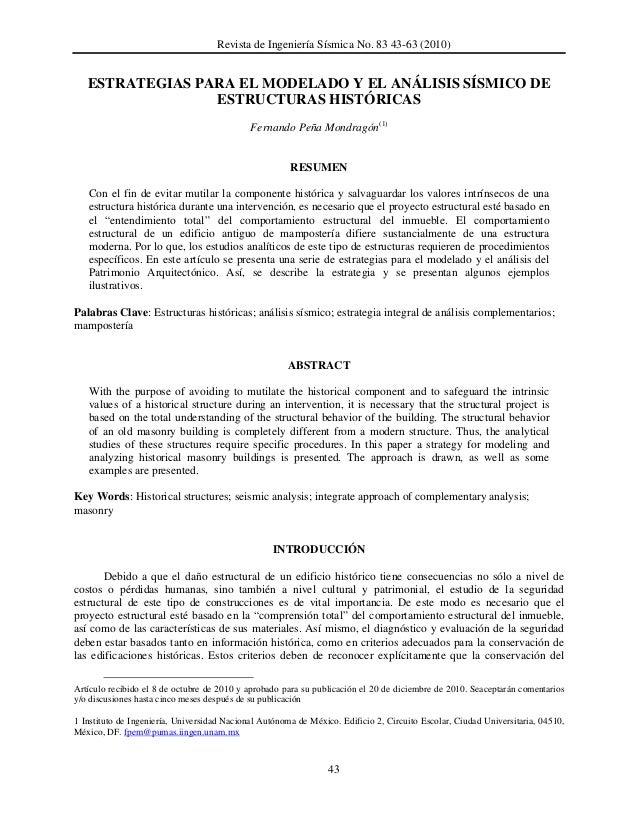 Revista de Ingeniería Sísmica No. 83 43-63 (2010)  ESTRATEGIAS PARA EL MODELADO Y EL ANÁLISIS SÍSMICO DE ESTRUCTURAS HISTÓ...