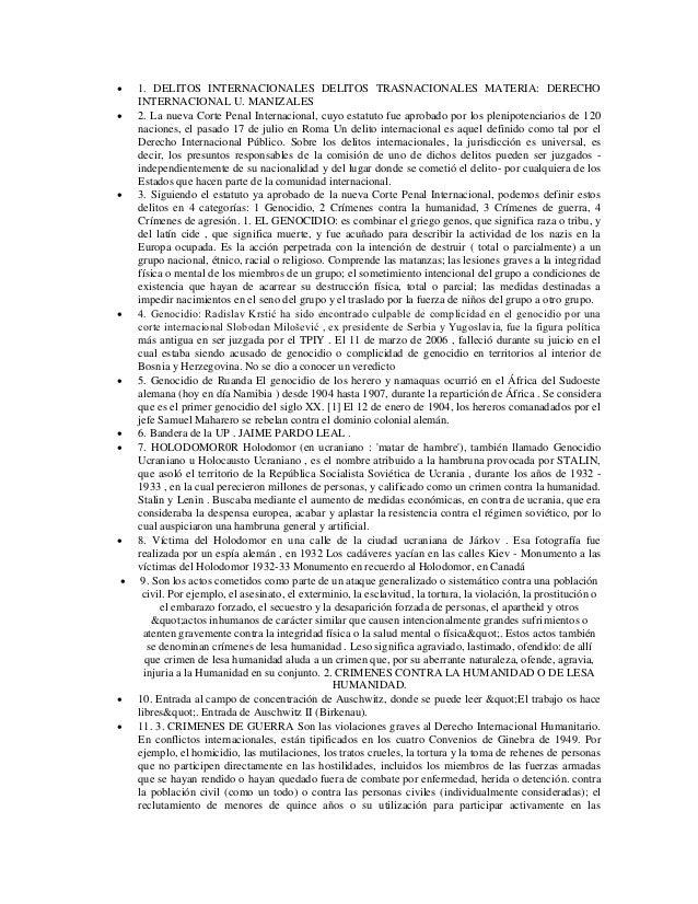    1. DELITOS INTERNACIONALES DELITOS TRASNACIONALES MATERIA: DERECHO    INTERNACIONAL U. MANIZALES   2. La nueva Corte ...