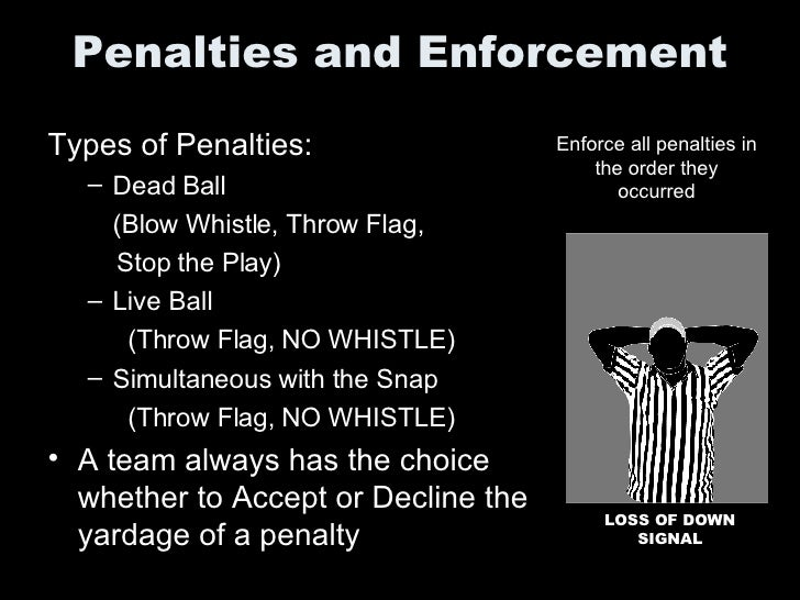Penalties and Enforcement <ul><li>Types of Penalties: </li></ul><ul><ul><li>Dead Ball  </li></ul></ul><ul><ul><li>(Blow Wh...