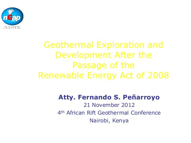 NationalGeothermalAssociation of thePhilippinesGeothermal Exploration andDevelopment After thePassage of theRenewable Ener...