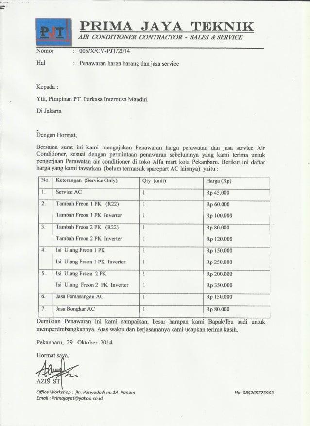 Contoh Surat Penawaran Material Bangunan Surat W