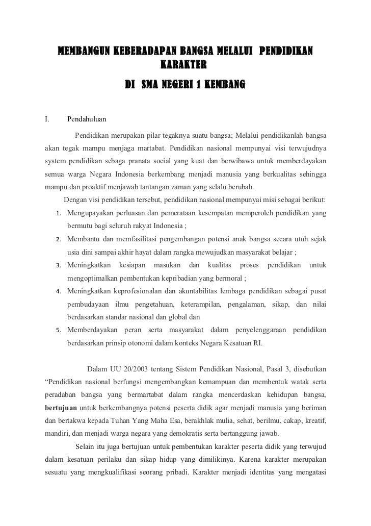 MEMBANGUN KEBERADAPAN BANGSA MELALUI PENDIDIKAN                       KARAKTER                          DI SMA NEGERI 1 KE...